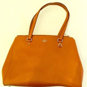 Coach brown leather east-west tote